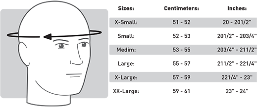 Fly Cookie - Measure your head for helmet size guide.